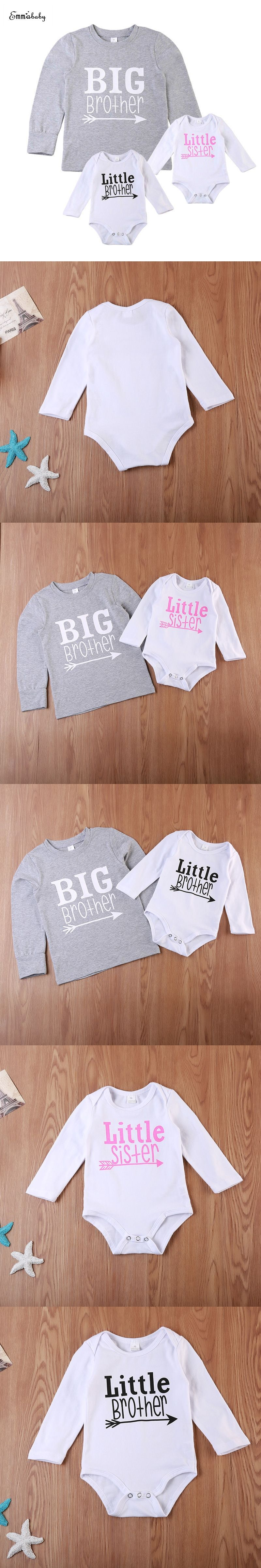 8115d2da Emmababy Casual Newborn Toddler Kids Clothes Long Sleeve Big Brother T-shirt  Little Sister Brother