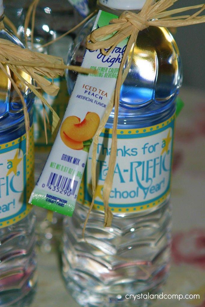 Teacher appreciation free tea riffic teacher water bottle for Diy mineral water bottle