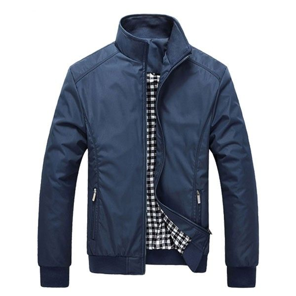 Mens Windproof Jacket Rib Knit Cuff Zipper Pocket Stand Collar Coat