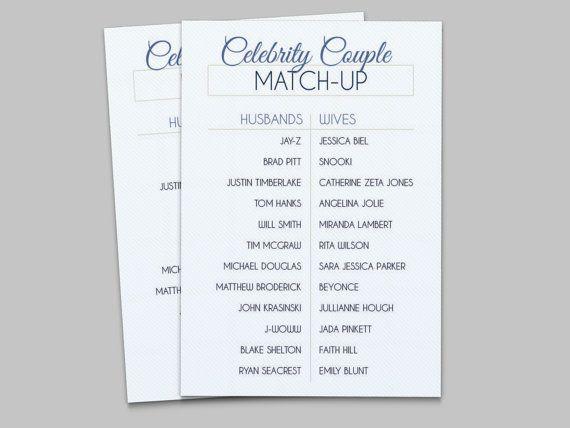celebrity couple match up bridal shower game instant printable download blue