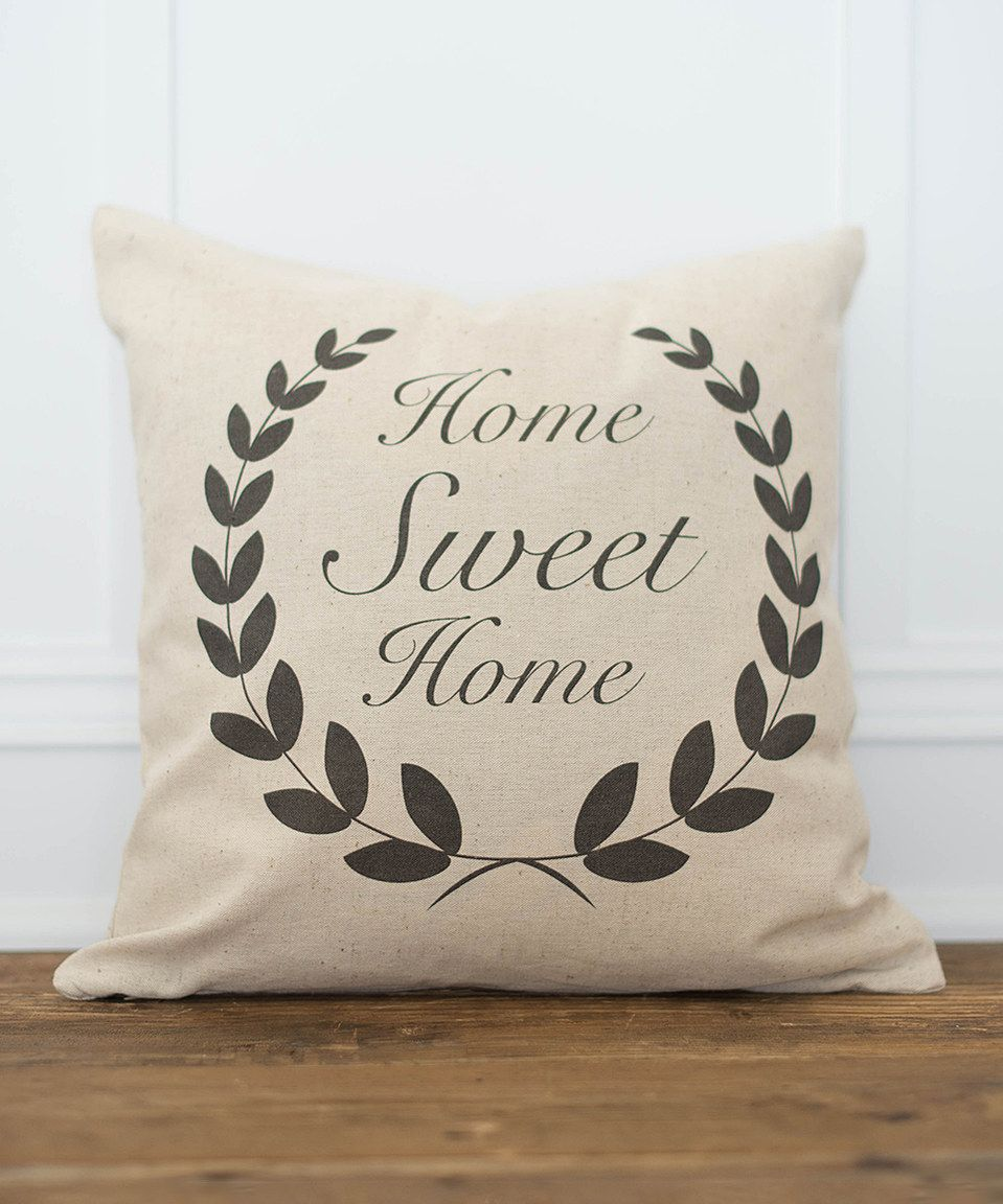 This Natural 'Home Sweet Home' Throw Pillow Cover by