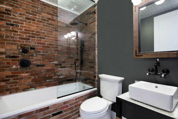 Mur briques dans la salle de bain - 25 idées inspirantes Bath - carreaux de verre pour salle de bain
