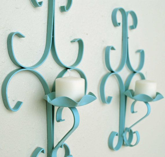 Sweet Turquoise Candle Sconces. By Summer Road shop #turquoise #decor