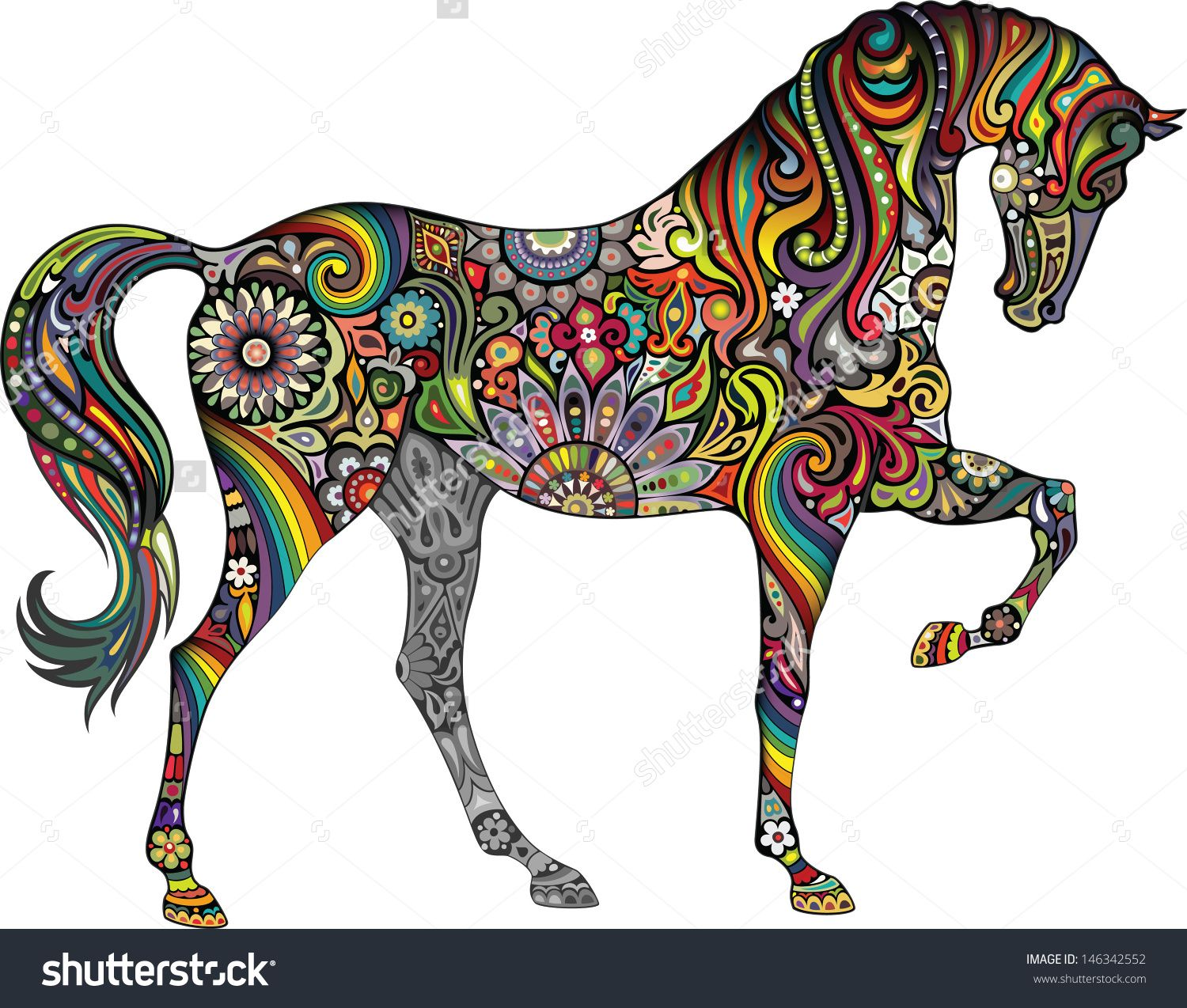 Pochoir Mandala Mural Horse And Rainbow D 39or Et D 39art