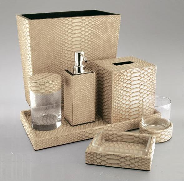 Good Luxury Hotel Bathroom Set: Gold Python Leather * Hotel Contract Orders Only
