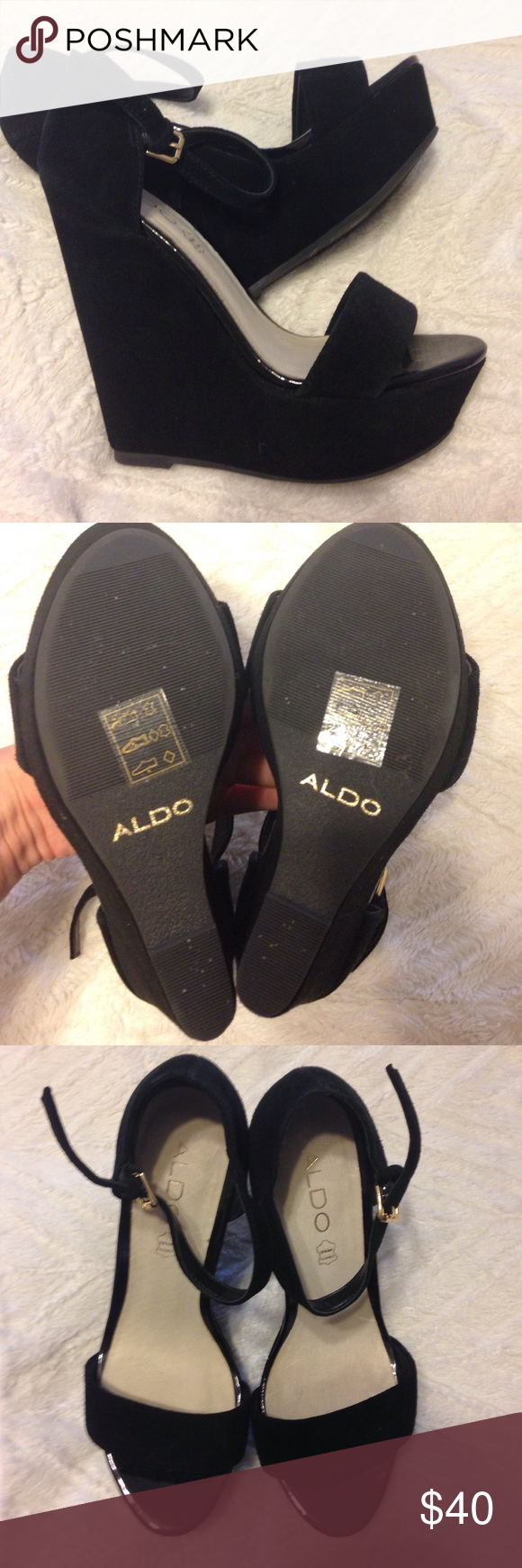 ALDO Wedges Super cute black wedges from Aldo! Worn once, still in great condition! They run a little small, size 7 but probably fits closer to a 6. The sole is peeling up a small bit and the back heel is a tiny bit worn but other than that they are great. Aldo Shoes Wedges