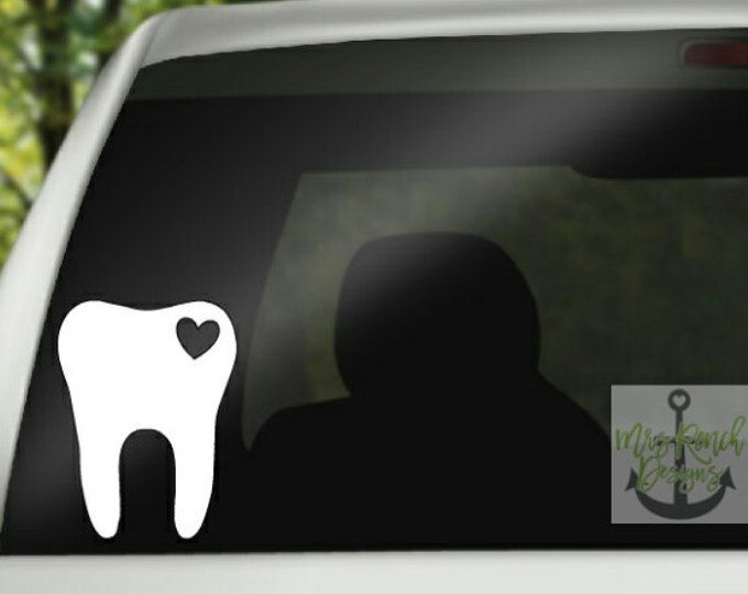 Tooth Monogram Decal Monogram Car Decal Dental Assistant Etsy