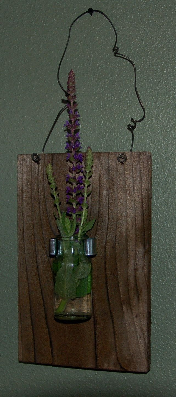 Barnwood Hanging Glass Vase. $10.00, via Etsy.