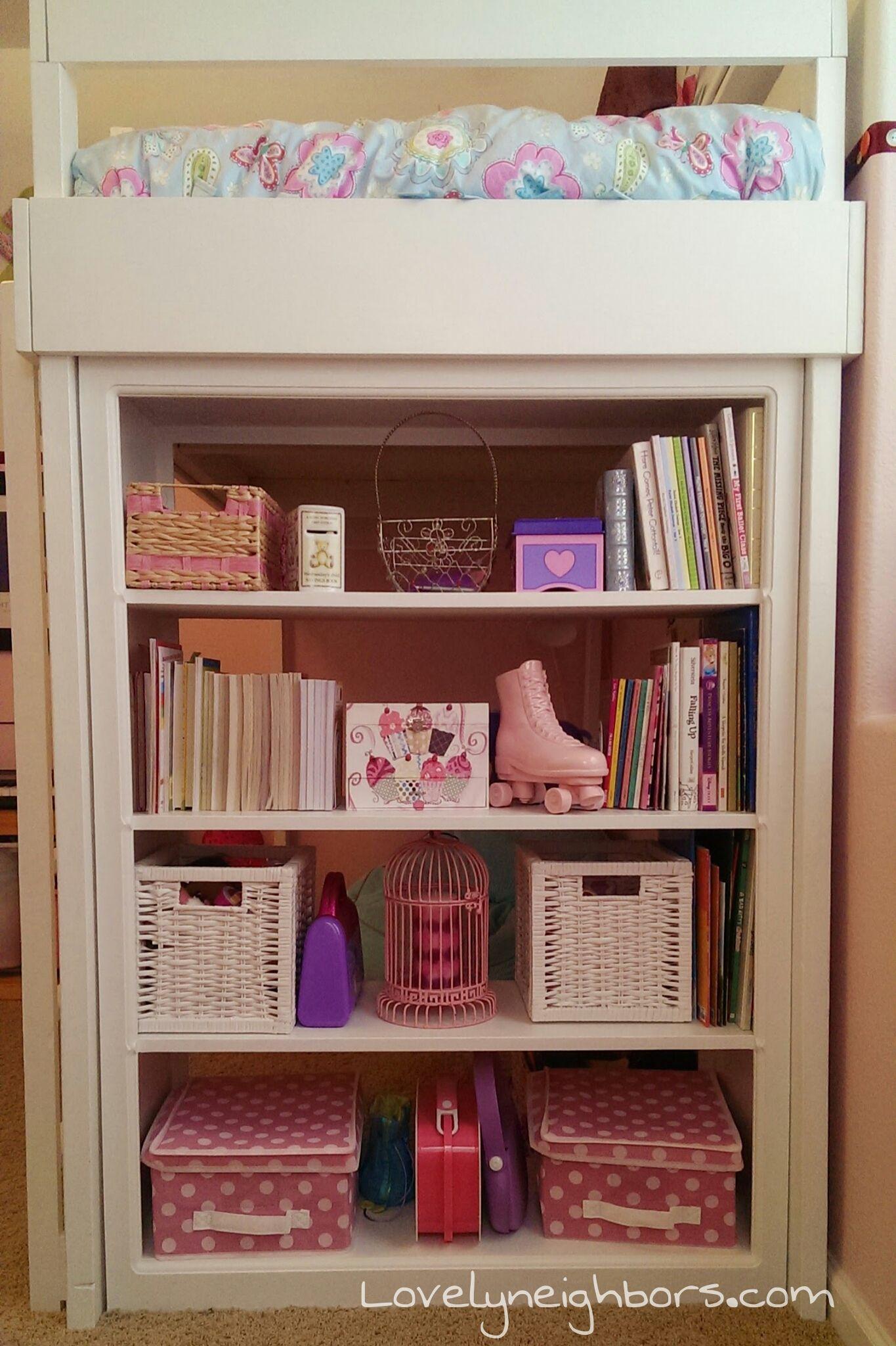 Loft bed ideas for girls  Loft Bed Bookshelf Display  LovelyNeighbors  Kids room idea