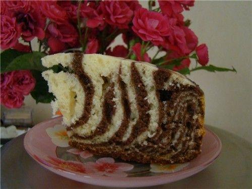 Торт зебра с творогом