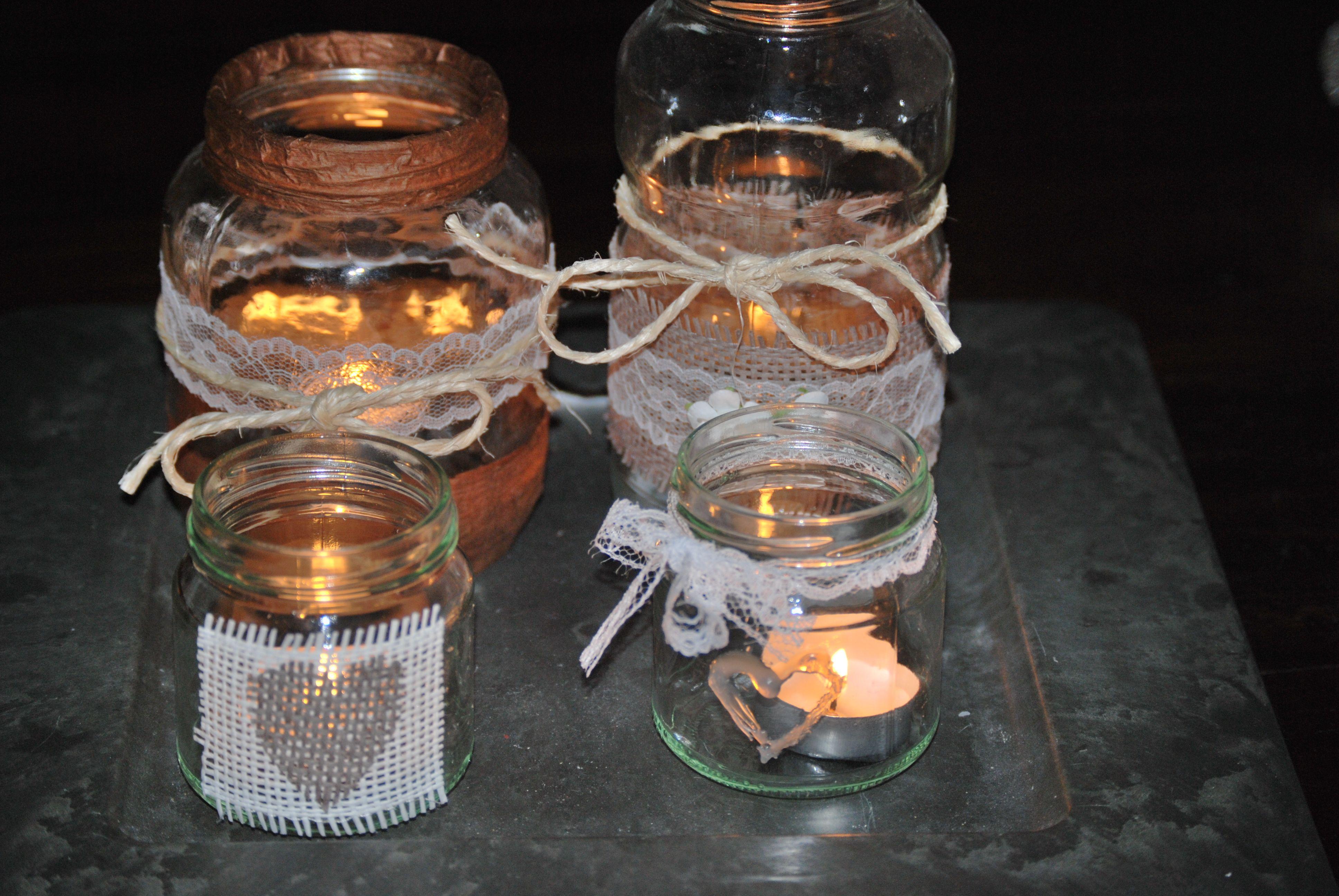 Makkelijk en leuk! glazen potten bewaren, versieren en theelichtje ...