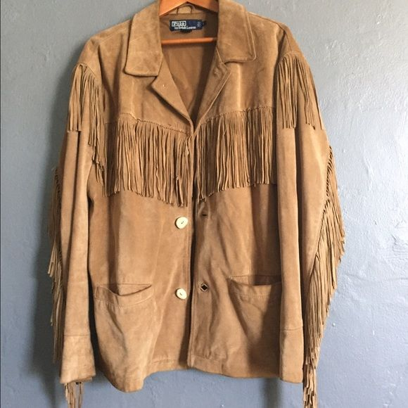 017bab32aaf5e9 Polo by Ralph Lauren Vintage Suede Jacket Men s western style suede jacket  with fringe detail and elk horn buttons. Open to reasonable offers!!