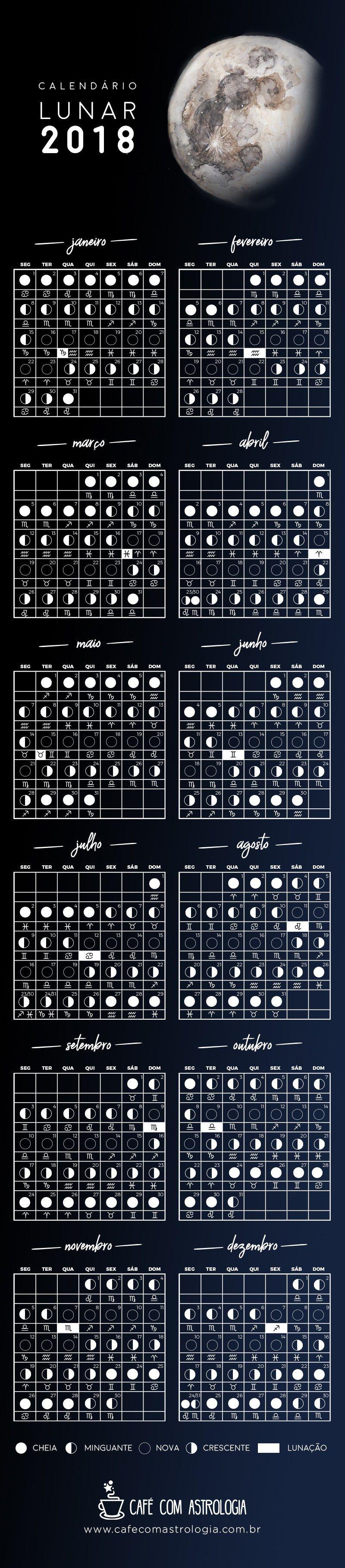 Calendario Lunar 2018 Cafe Com Astrologia Calendario Lunar Calendario Lunar 2018 Astrologia