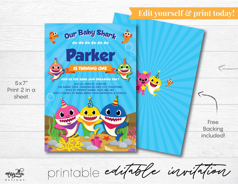 Baby Shark Invitation EDITABLE PDF Digital