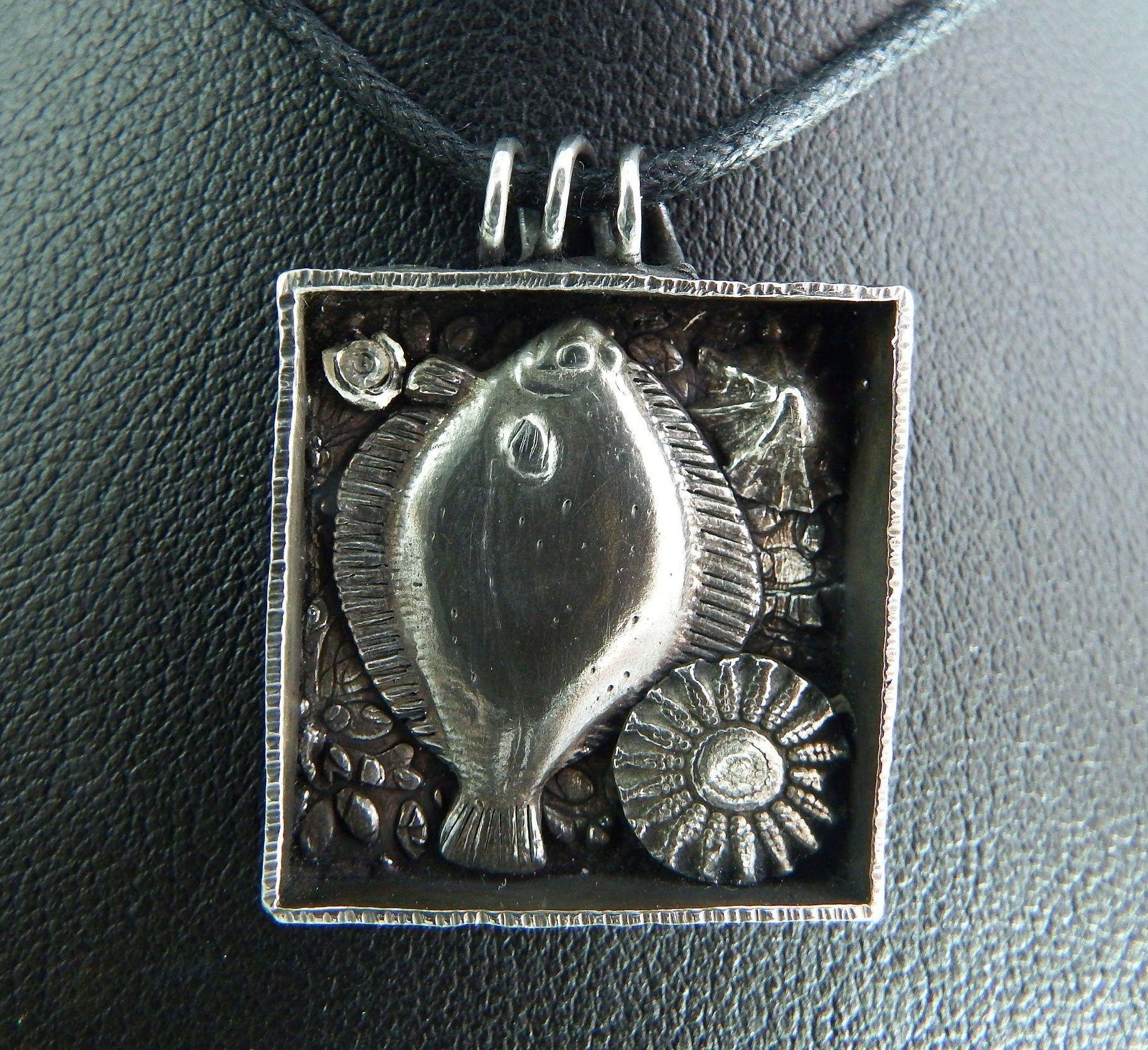 PMC fish box pendant with a white sapphire fine silver wire bail ...