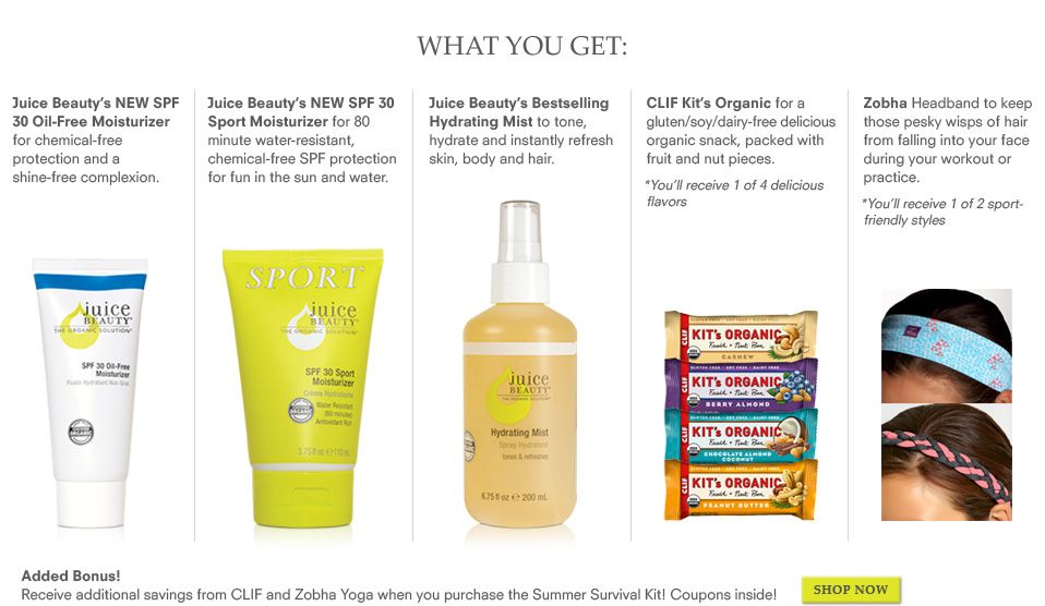 Summer Survival Kit Limited Edition What You Get Juice Beauty New Spf 30 Oil Free Moisturizer For Chemical Free Pr Juice Beauty Oil Free Moisturizers Beauty
