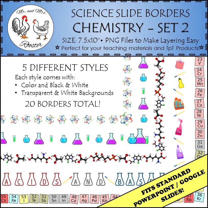 Science Borders Made For Powerpoint Google Slides Spice Up Your Science Lessons Or Presentations With This Set Chemistry Set Chemistry Paper Science