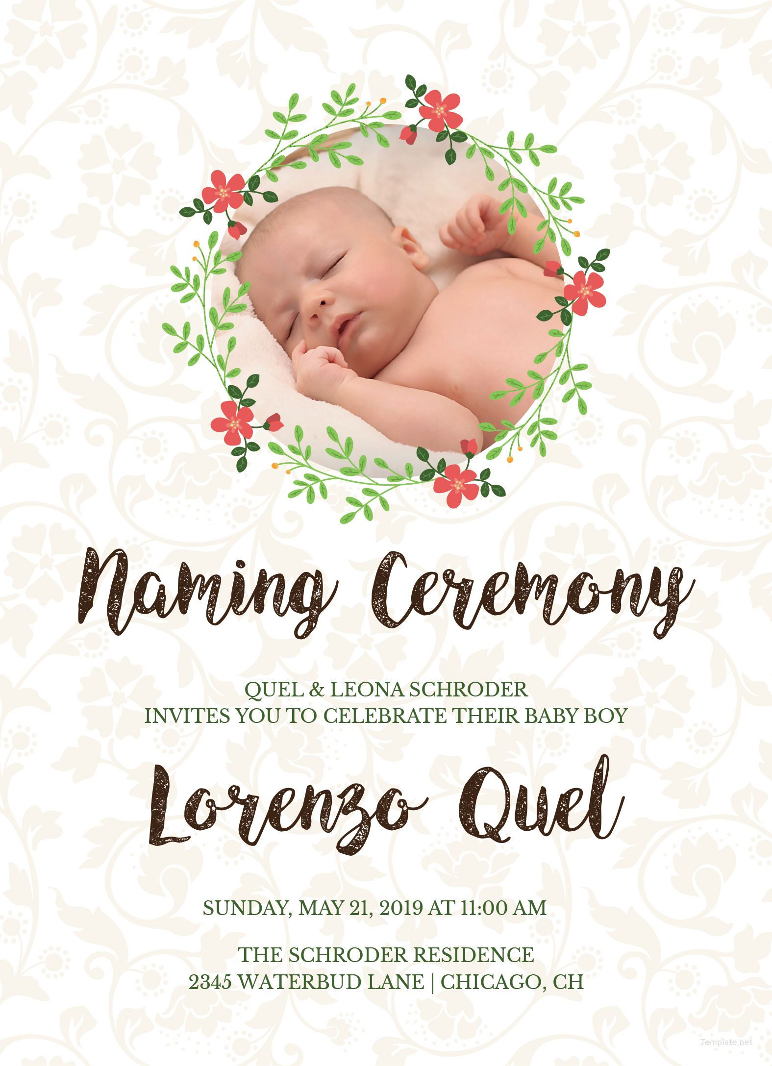 Free Creative Naming Invitation Naming Ceremony Invitation