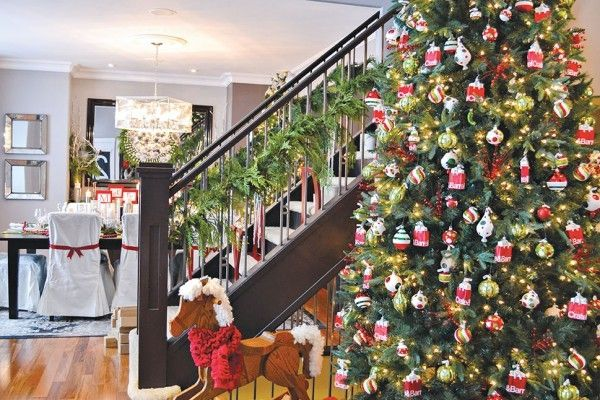 Huge Christmas tree home decor style design holidays interior