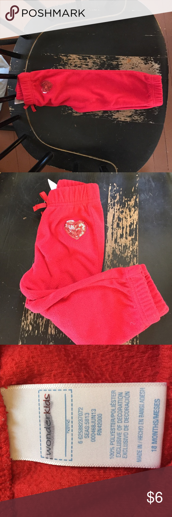 Wonder kids sweatpants Very soft and comfortable sweatpants with a flashy heart on the front! One of Daughters favorites but have out grown! No noticeable wear! Wonder Kids Bottoms Sweatpants & Joggers