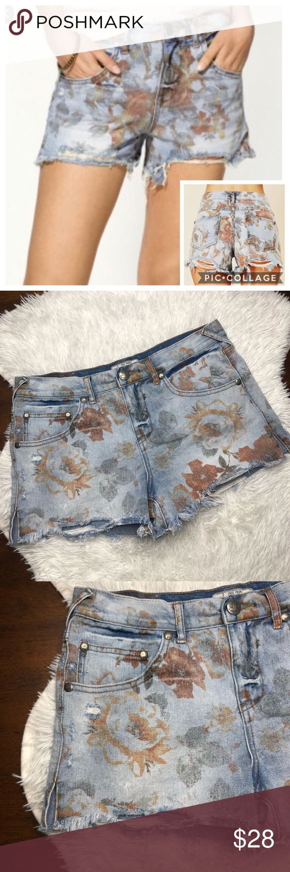 fb5c9293d0 Free People Floral Distressed Denim Shorts EUC. Size 29. Distressed hem  with side slits. Light floral print. 100% cotton. Free People Shorts Jean  Shorts