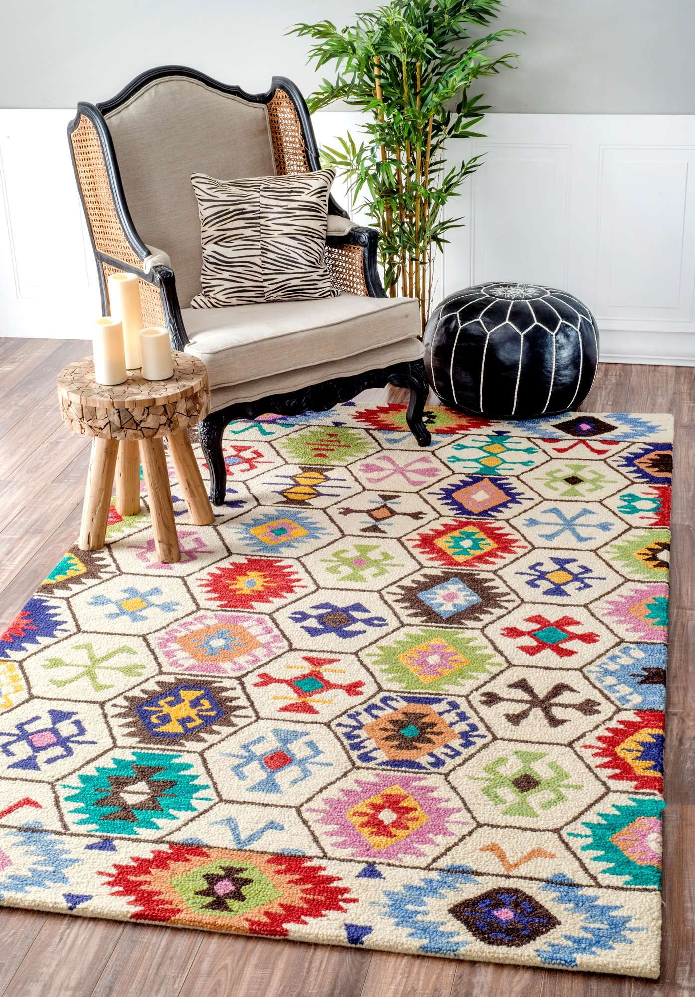 Hand Tufted With Wool, This Bright Tribal Hexagon Rug Brings