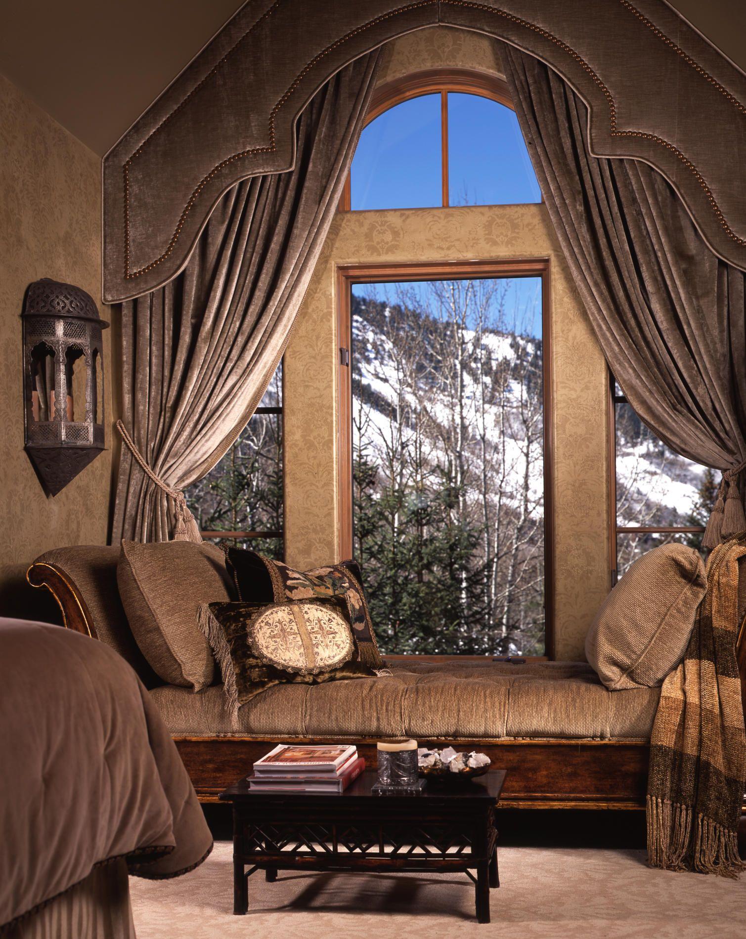 Everything. Period. Custom window treatments, Rustic bedroom