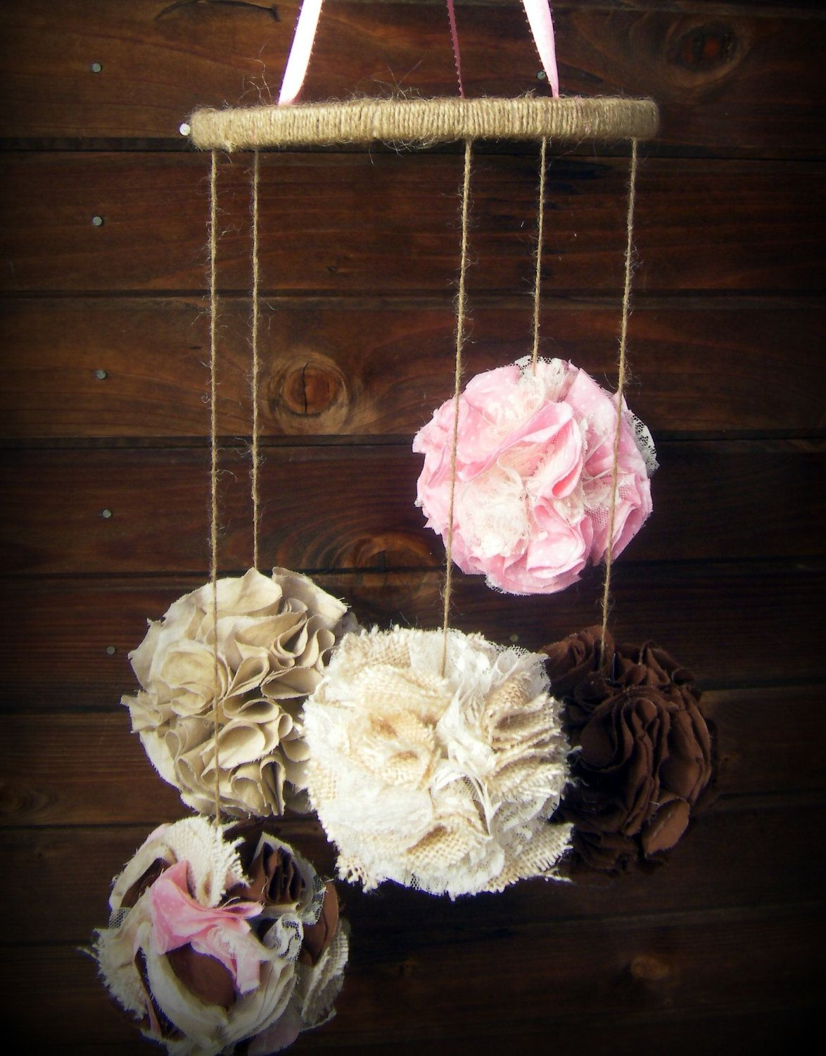 Burlap and lace fabric pom mobile fabric pomador pink brown and cream nursery mobile maybe - Pompoms kinderzimmer ...