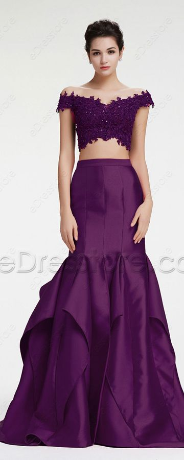ace4e91e68e8 Purple off the shoulder prom dresses long beaded sequins two piece prom  dress mermaid prom dresses with slit pageant evening dresses