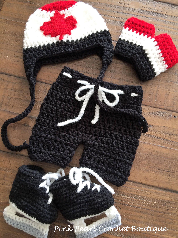 Baby Hockey Costume Set by PinkPearlCrochetCA on Etsy ba9e4acba767