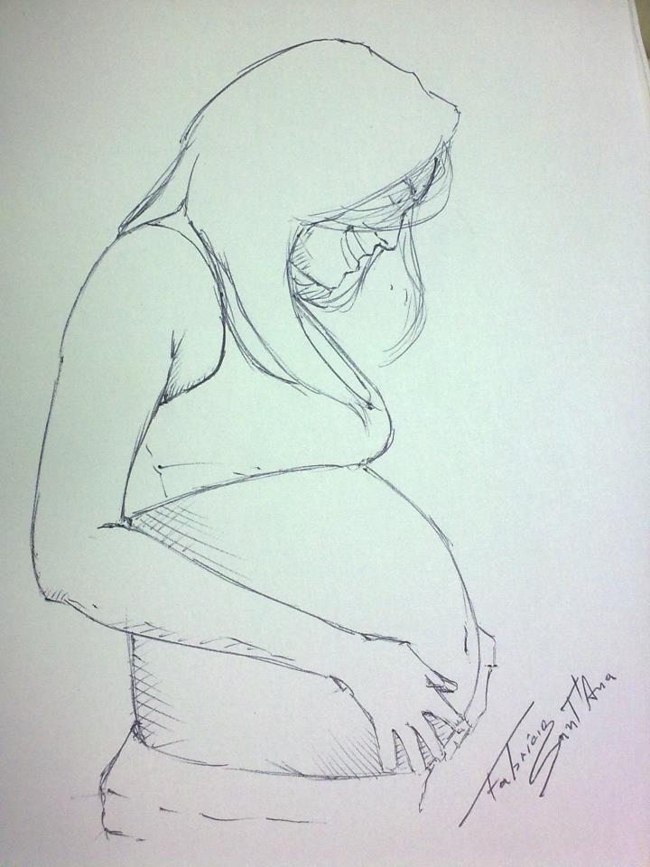 Ilustração Mulher Grávida Caneta Esferográfica Pregnant