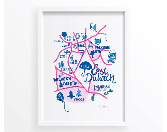 East Dulwich Kids Map London Childrens Map Risograph Print A - Children's maps to print