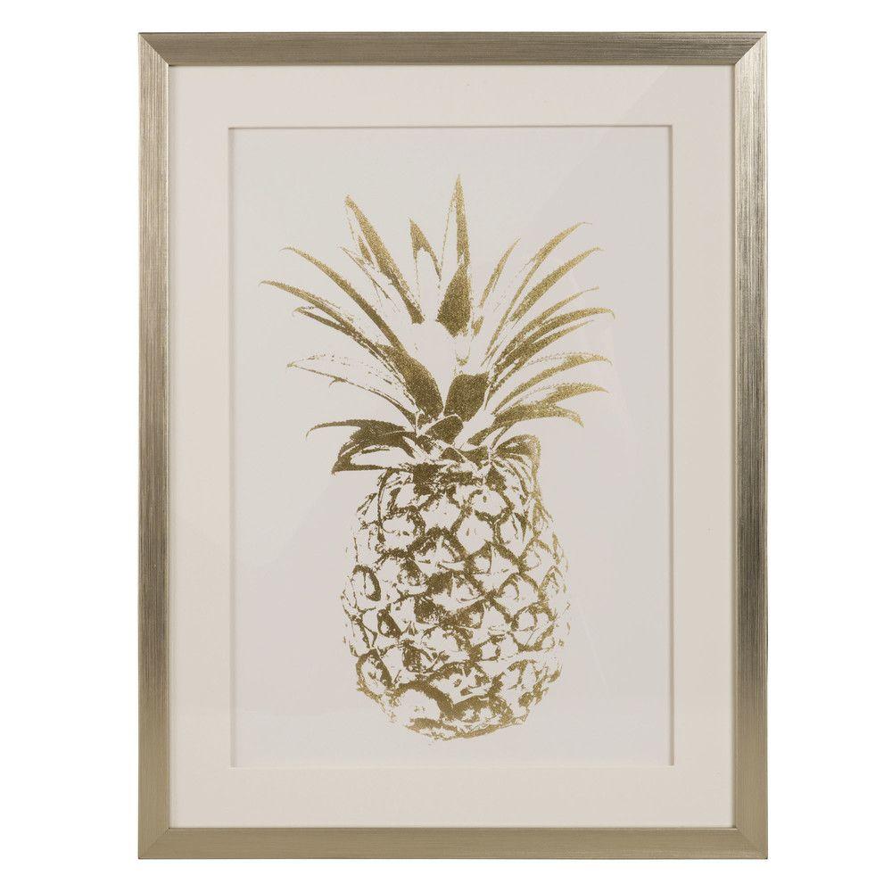 Tableau imprim ananas dor 47x60 ma chambre cosy for Ananas deco maison