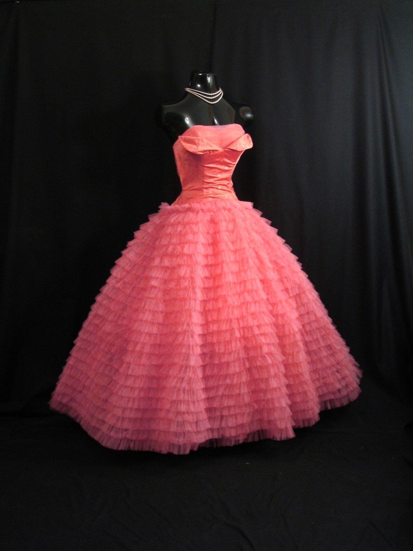 Vintage us s bombshell strapless salmon pink taffeta tulle