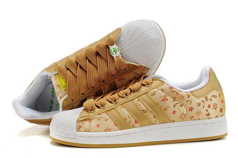 zapatillas adidas superstar 2 mujer floral oro verde