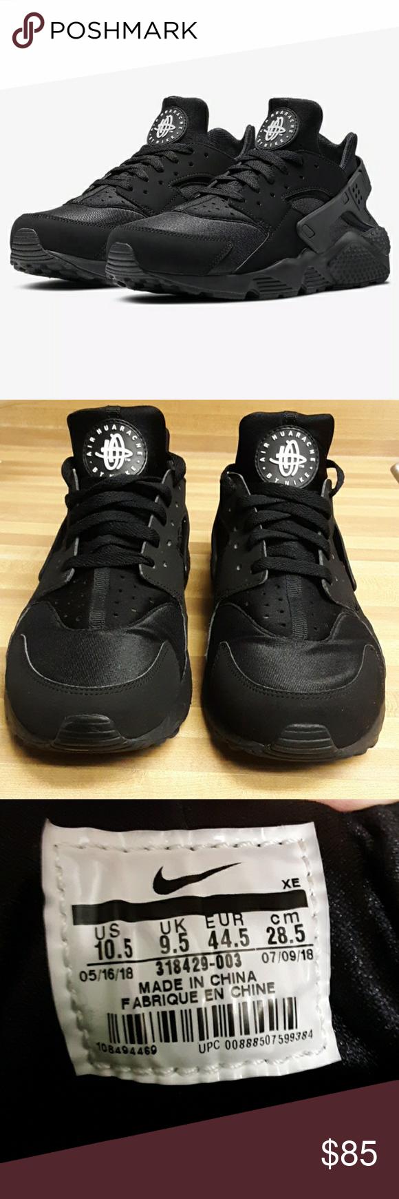 Men's Nike Huarache Triple Black- 10.5   Nike men, Triple black ...