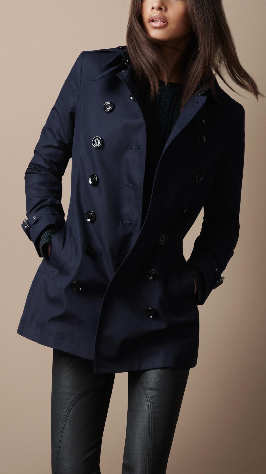 Burberry Brit Short Cotton Trench Coat in Blue (true navy)   Navy ...