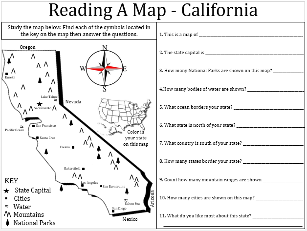 Empowered By THEM California Map Lesson – Reading a Map Worksheet