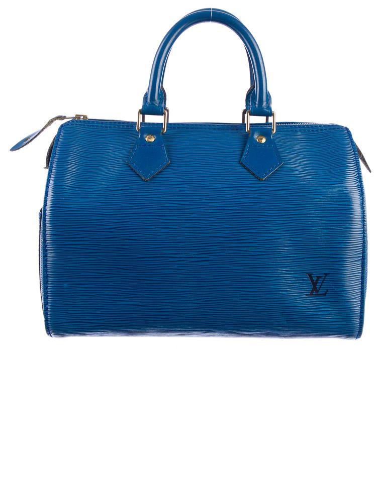 Feeling Blue Louis Vuitton Epi Speedy 25 Bag Therealreal Com Louis Vuitton Louis Vuitton Handbags Bags