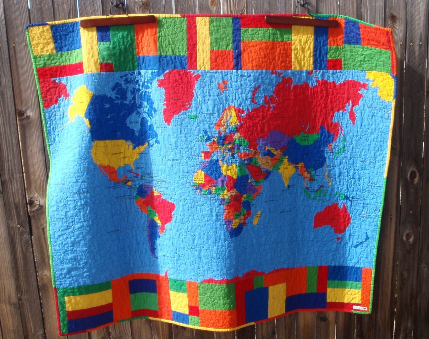 World map quilt pieced quilted blanket lap quilt wall hanging sale world map quilt pieced quilted blanket lap quilt wall gumiabroncs Gallery