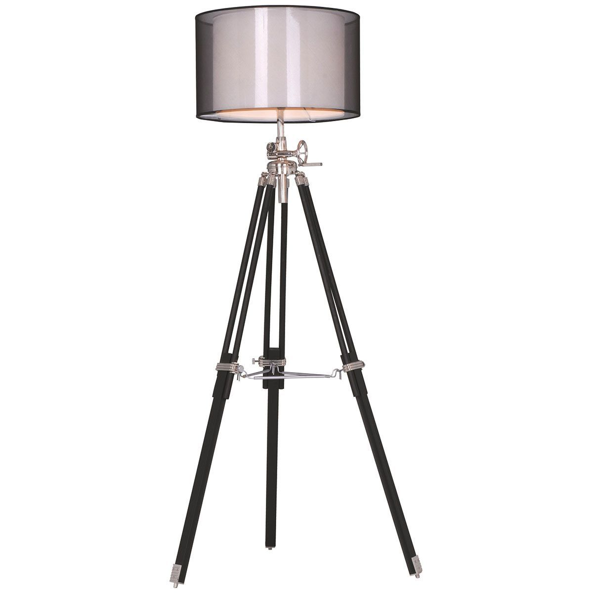 Elegant Lighting Ansel Tripod Chrome And Black Floor Lamp
