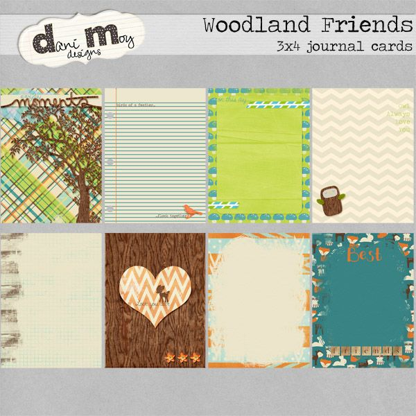 Woodland Friends: Journal Cards by Danimoy Designs   https://www.oscraps.com/shop/product.php?productid=33189
