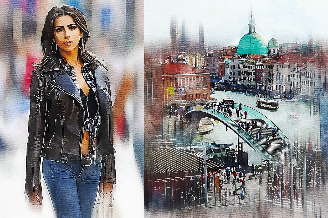Watercolor Illustration Photoshop Action Photoshop Actions