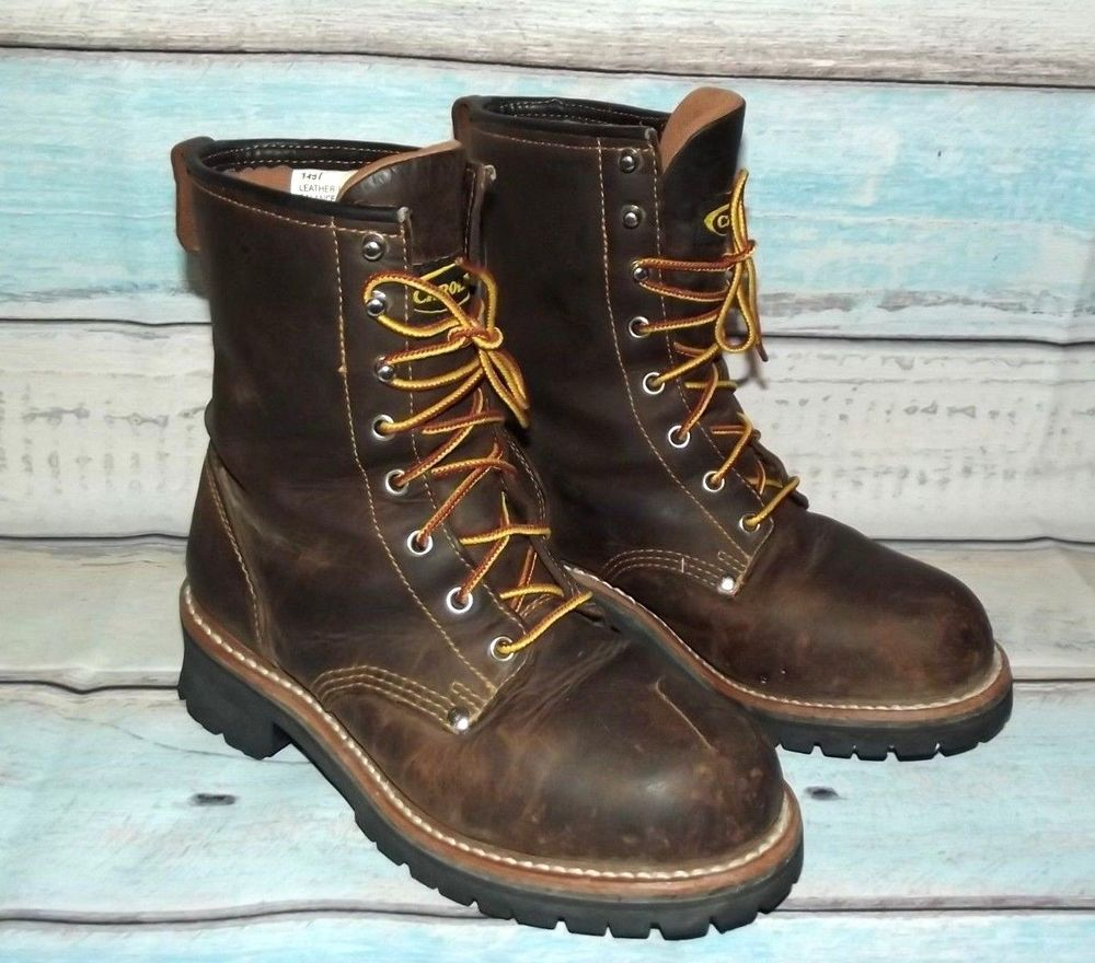 Carolina brown oiled leather steel toe logger boots womens
