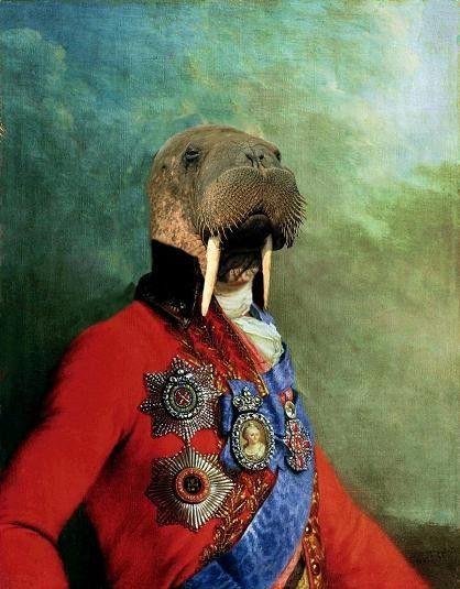 Sir Odobenus Rosmarus Portrait  8 X 10 Fine Art by BeatUpCreations, $15.99