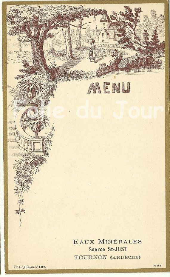 Antique French Illustrated Blank Menu Brown French Antiques Antiques Menu