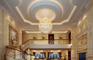 Luxury  staircase, suspended ceiling
