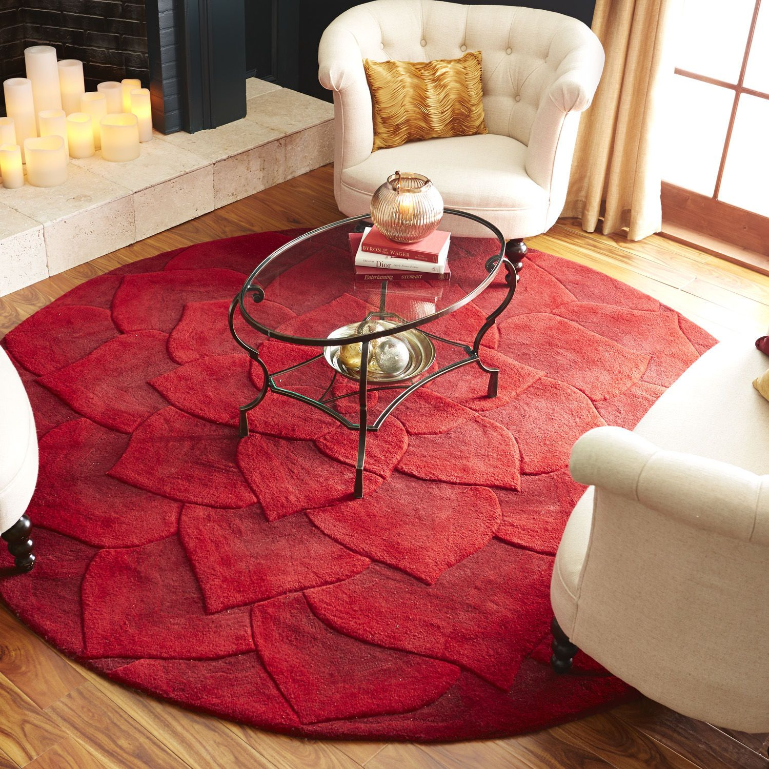 pier 1 living room rugs%0A Rose Tufted Round Rug  Red   Pier   Imports