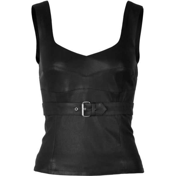 11f00e6c759a42 McQ Alexander McQueen Leather Bustier Top ( 525) ❤ liked on Polyvore  featuring tops