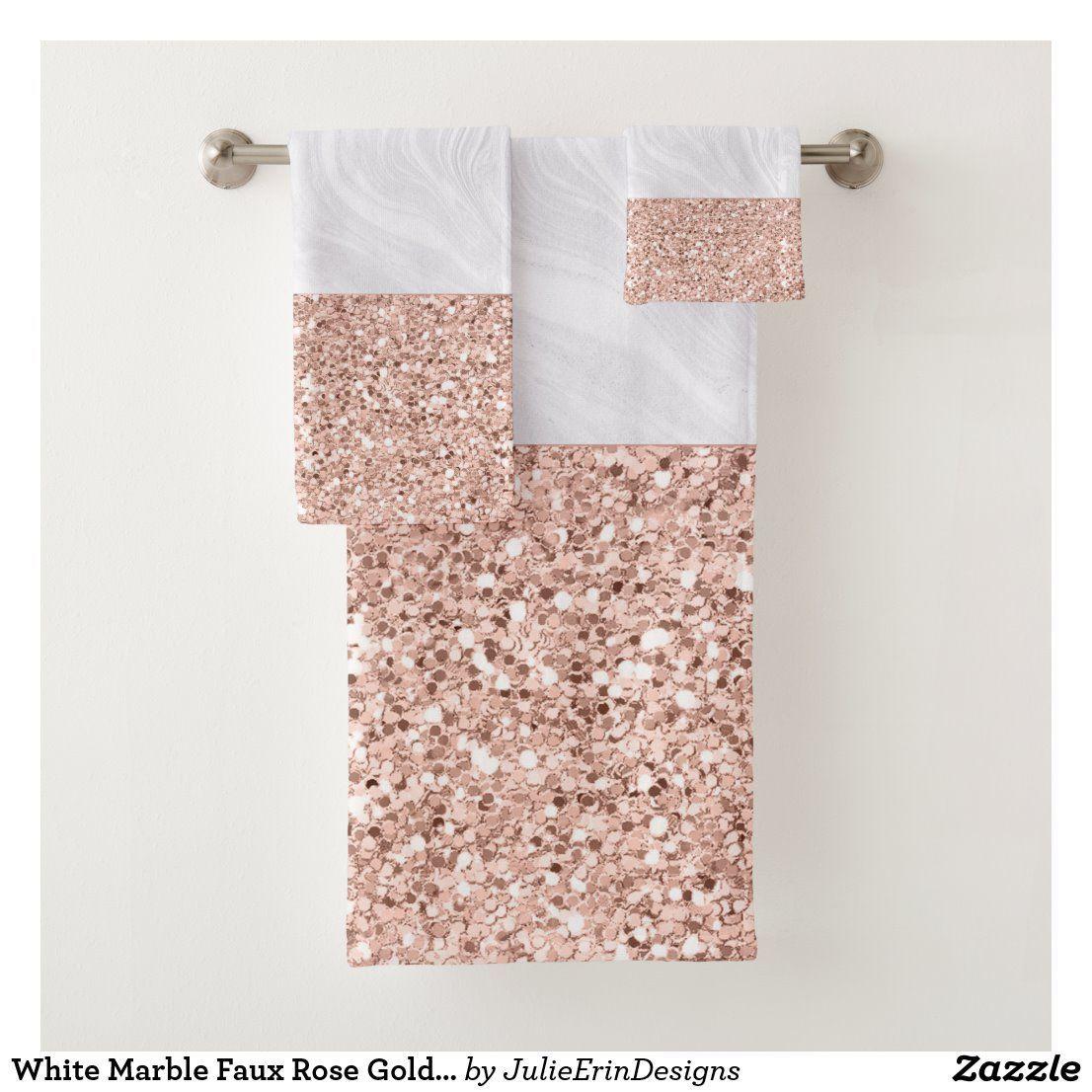 White Marble Faux Rose Gold Pink Glitter Bath Towel Set Zazzle